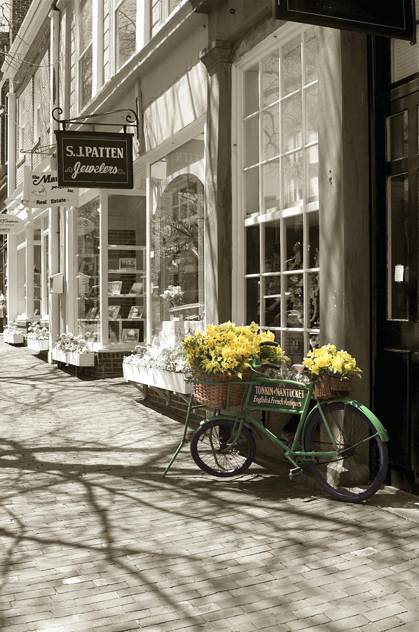 Bicycle With Flowers - Nantucket Photograph