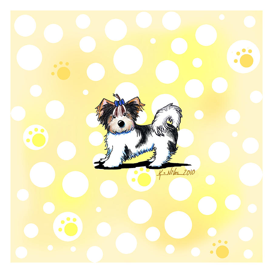 Biewer Terrier Banana Cream Drawing  - Biewer Terrier Banana Cream Fine Art Print