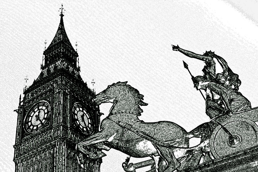 Big Ben And Boudica Charcoal Sketch Effect Image Digital Art  - Big Ben And Boudica Charcoal Sketch Effect Image Fine Art Print