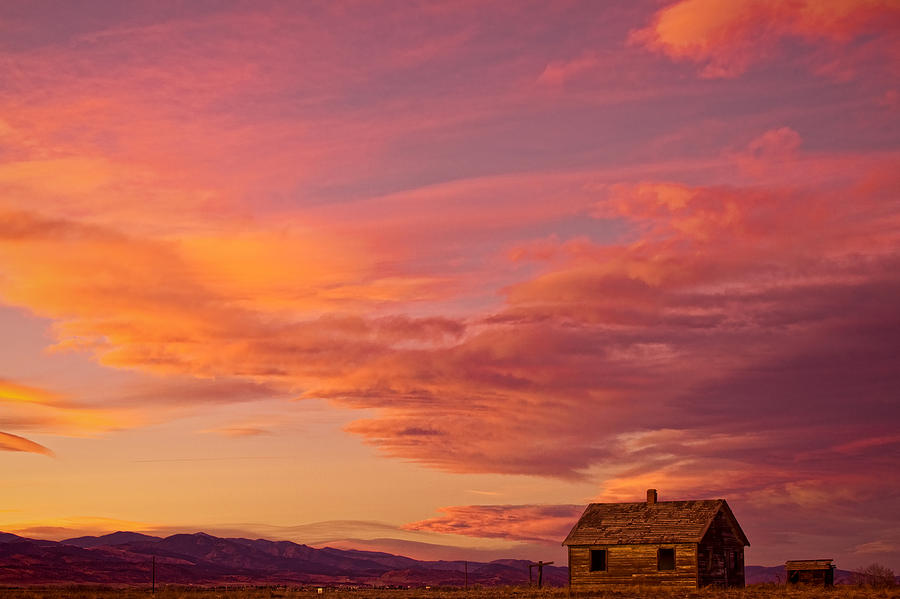 Big Colorful Colorado Sky And Little House On The Prairie Photograph  - Big Colorful Colorado Sky And Little House On The Prairie Fine Art Print