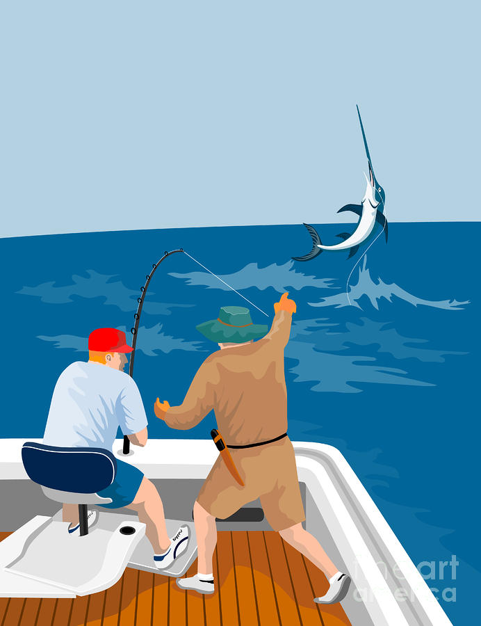 Big Game Fishing Blue Marlin Digital Art  - Big Game Fishing Blue Marlin Fine Art Print
