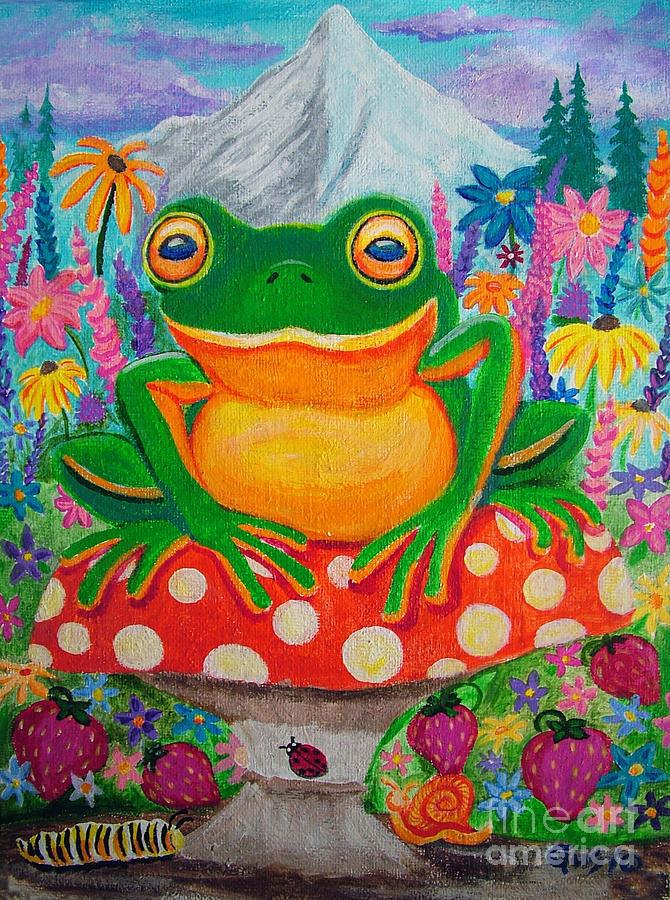 Big Green Frog On Red Mushroom Painting