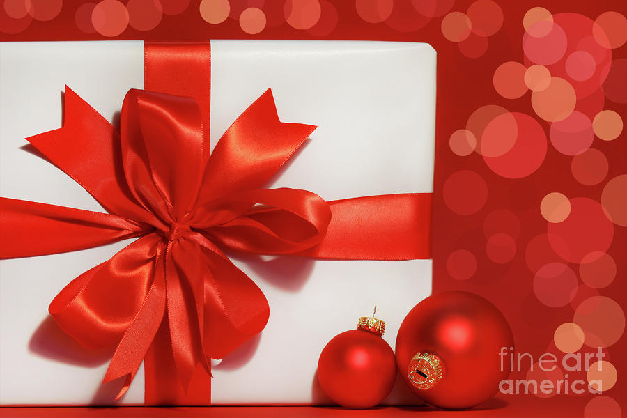 Big Red Bow On Gift  Photograph