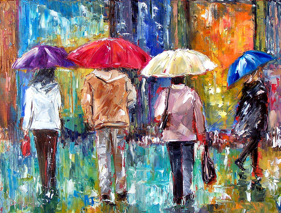 Big Red Umbrella Painting  - Big Red Umbrella Fine Art Print
