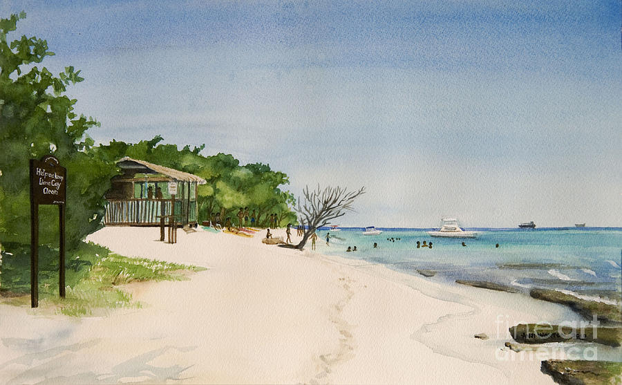 Big Sand At Lime Cay Painting  - Big Sand At Lime Cay Fine Art Print