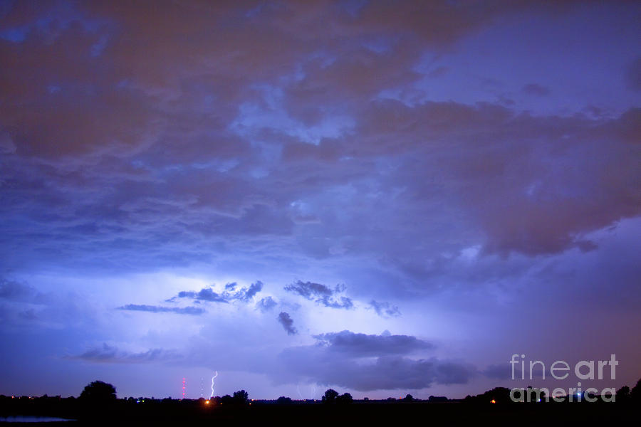 Big Sky With Small Lightning Strikes In The Distance Photograph