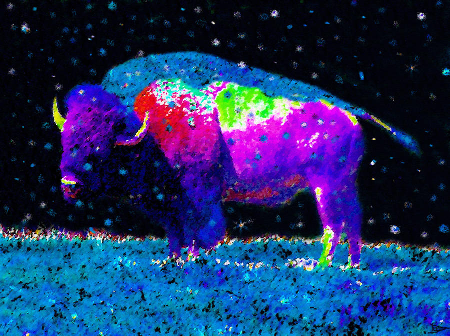 Big Snow Buffalo Painting  - Big Snow Buffalo Fine Art Print