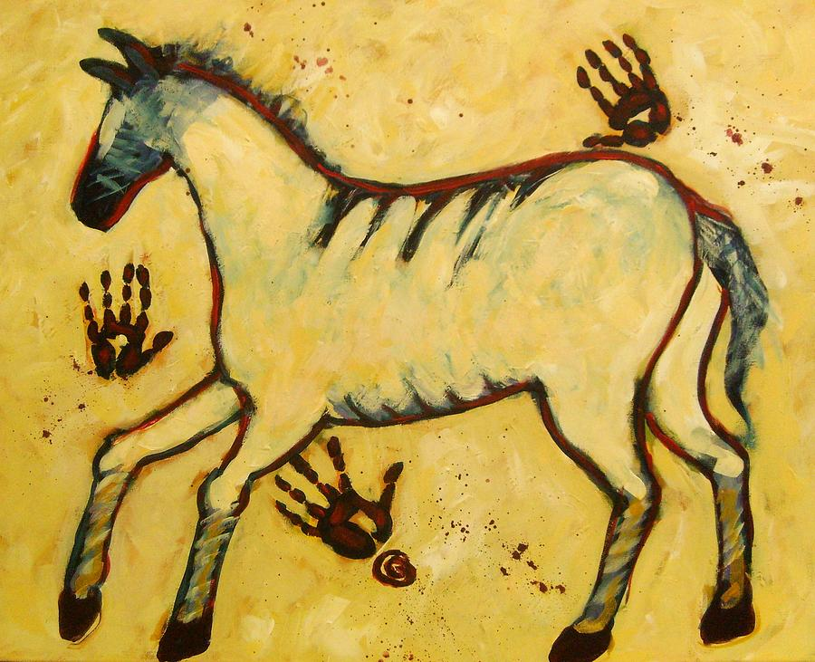 Big Yellow Lascaux Horse Painting