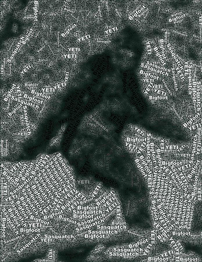 Bigfoot Word Mosaic Digital Art  - Bigfoot Word Mosaic Fine Art Print