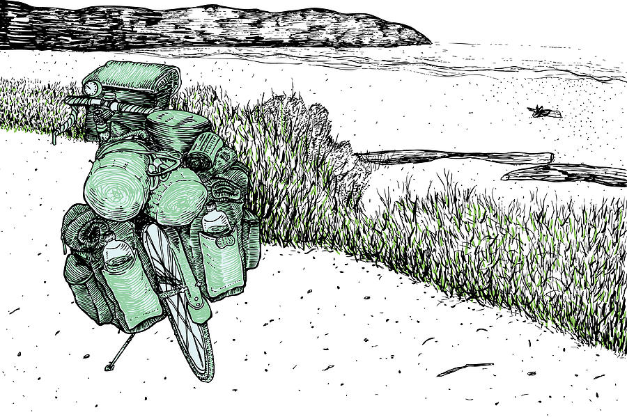 Bike At The Beach Drawing