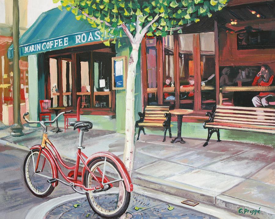 Bike At The Coffee Shop Painting  - Bike At The Coffee Shop Fine Art Print