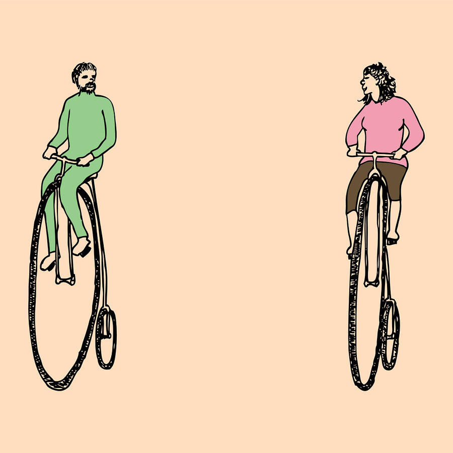 Bike Buddies Drawing  - Bike Buddies Fine Art Print