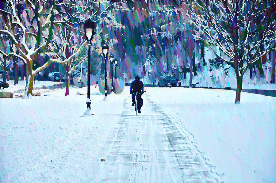 Bike Riding In The Snow Photograph