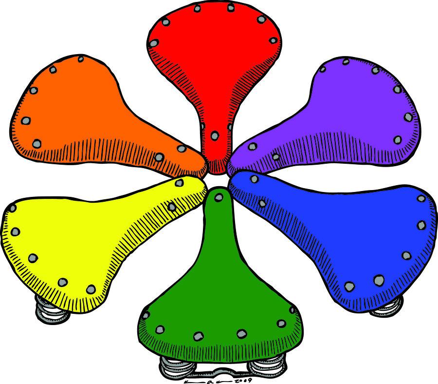 Bike Saddle Color Theory Drawing