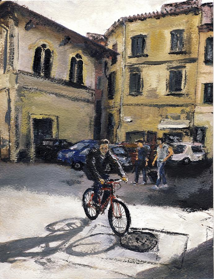 Italy Mixed Media - Biker Florencia by Randy Sprout