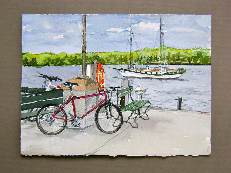 Waterscape Painting - Bikes At Fish Creek by Laurel Fredericks