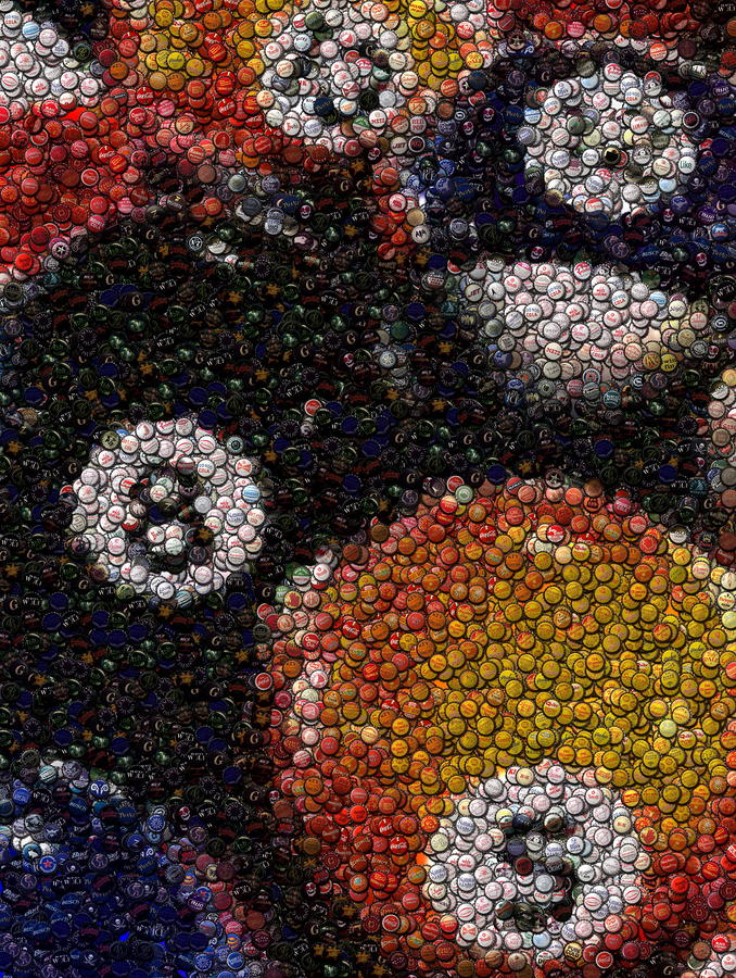 Billiard Ball Bottle Cap Mosaic Mixed Media  - Billiard Ball Bottle Cap Mosaic Fine Art Print
