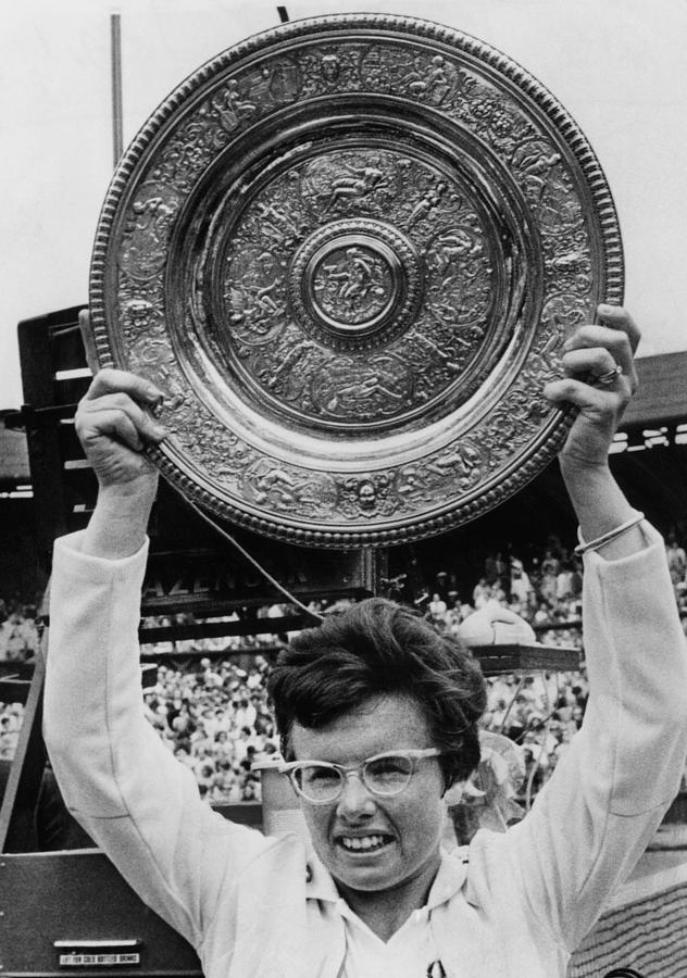 Billie Jean King Holding Wimbledon Photograph