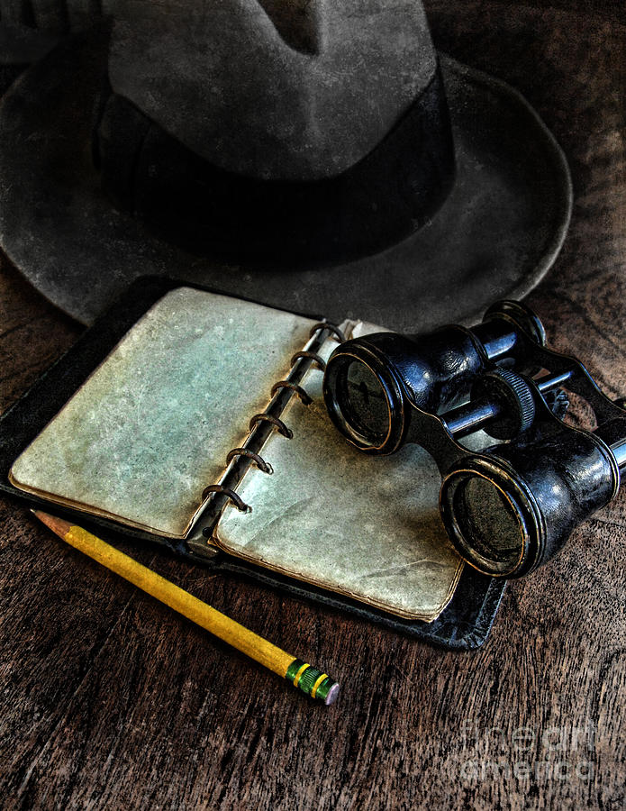 Binoculars Fedora And Notebook Photograph