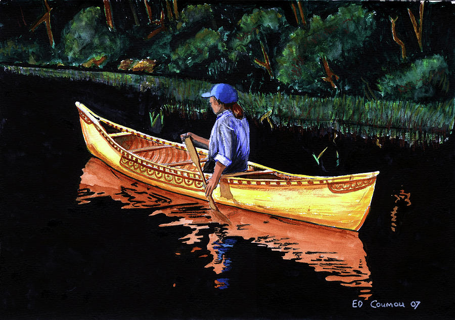 Birch-bark Canoe Painting  - Birch-bark Canoe Fine Art Print