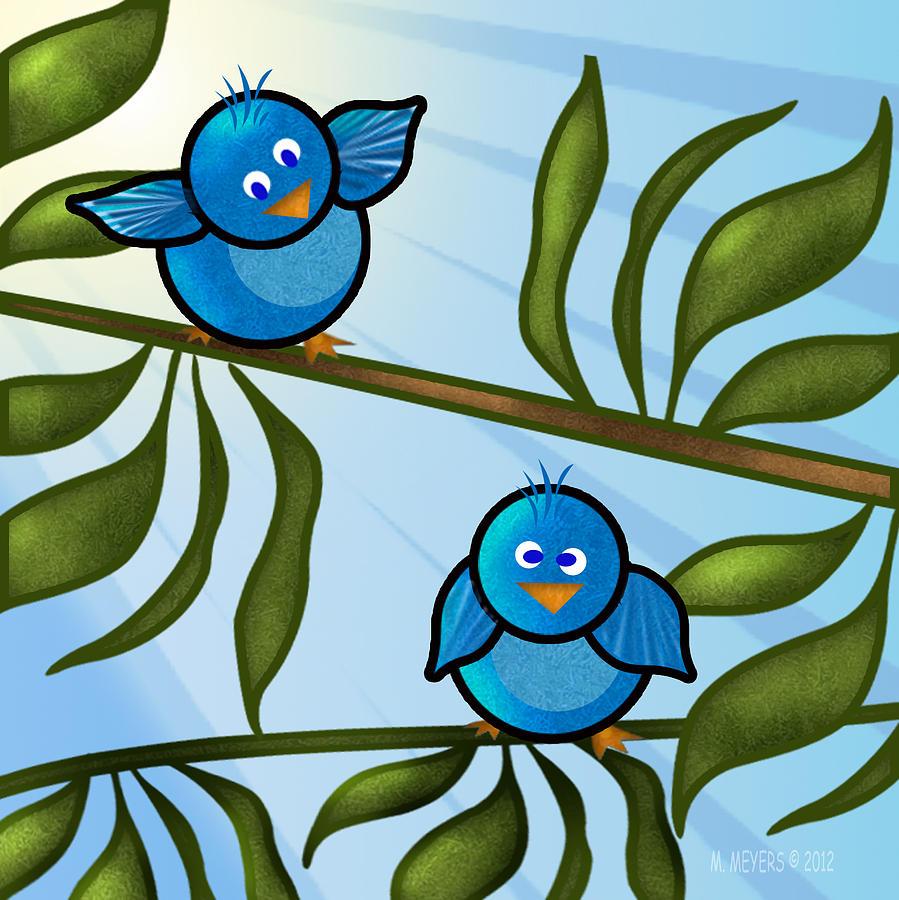 Digital Art - Bird Branch2 by Melisa Meyers
