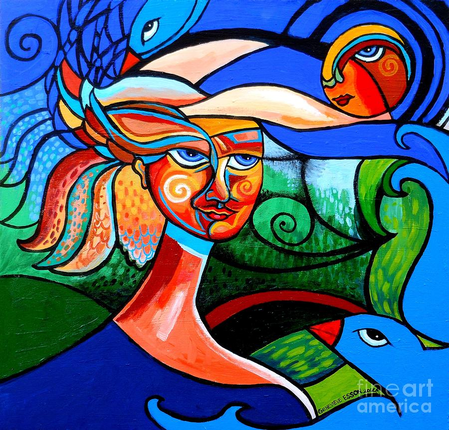 Bird Lady Painting  - Bird Lady Fine Art Print