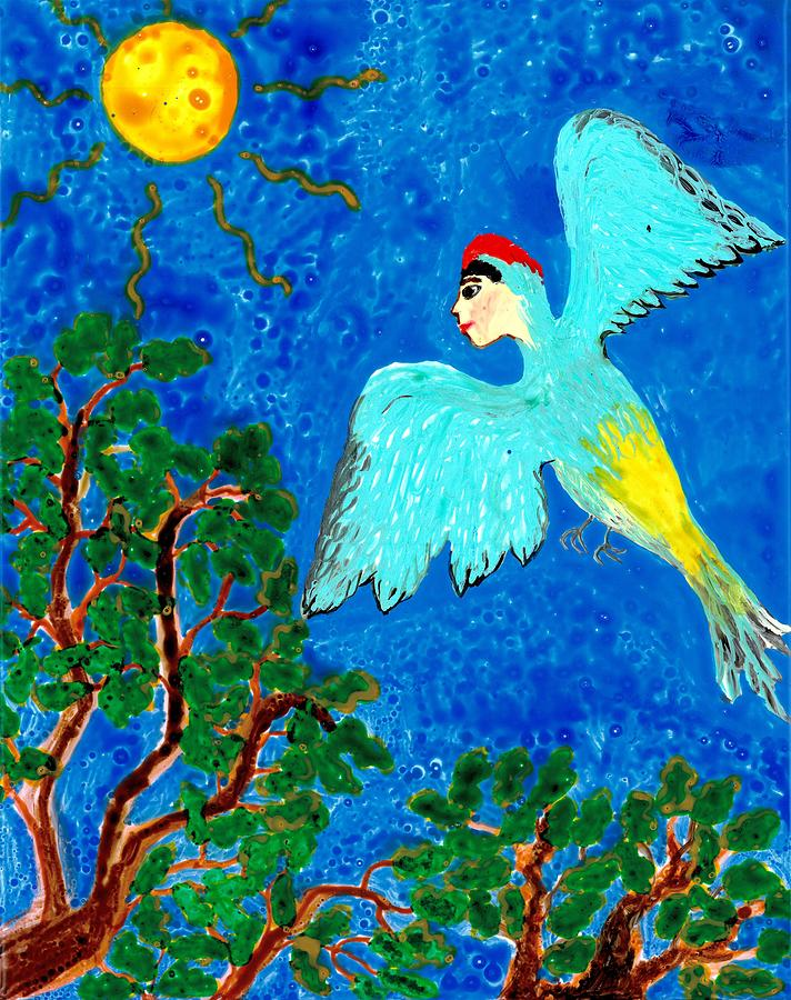 Bird People Green Woodpecker Painting