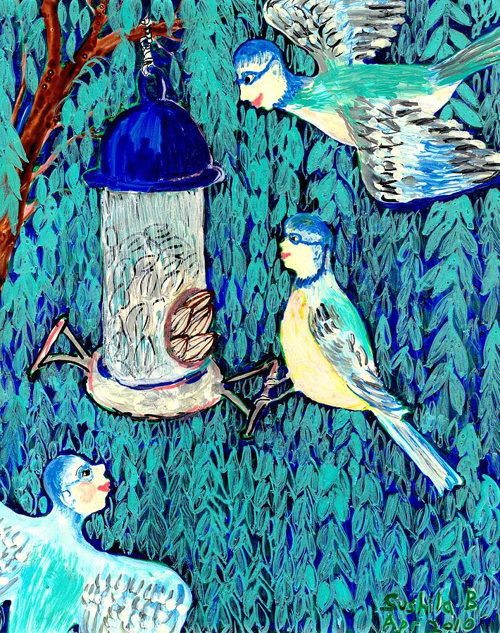 Bird People The Bluetit Family Painting  - Bird People The Bluetit Family Fine Art Print