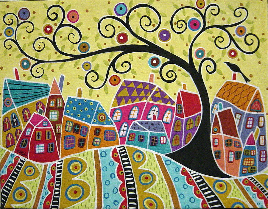Bird Ten Houses And A Swirl Tree Painting  - Bird Ten Houses And A Swirl Tree Fine Art Print