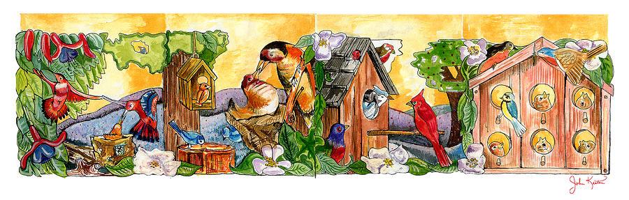 Birdhouse Tableau Painting