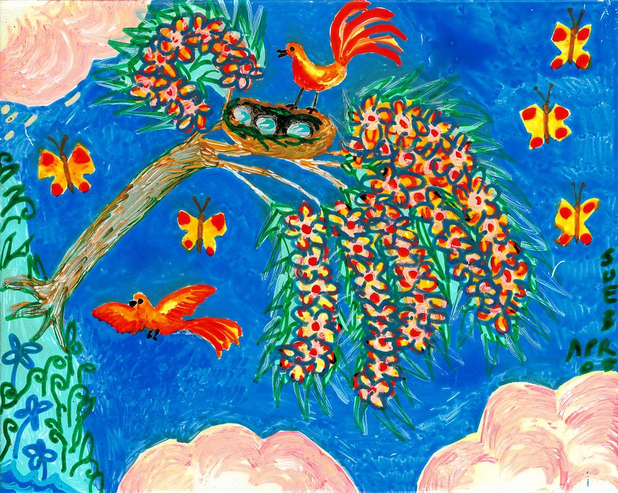 Birds And Nest In Flowering Tree Painting  - Birds And Nest In Flowering Tree Fine Art Print