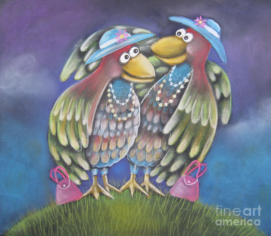 Birds Of A Feather Stick Together Pastel  - Birds Of A Feather Stick Together Fine Art Print