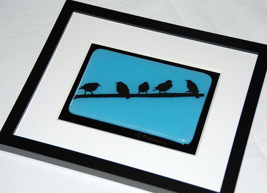 Birds On A Wire Glass Art
