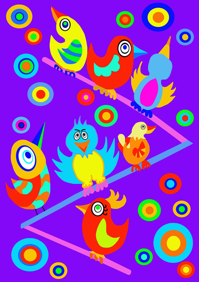 Birds On Wire Digital Art