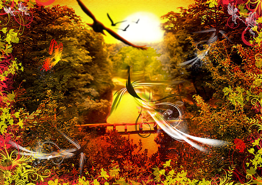 Birds World Digital Art  - Birds World Fine Art Print