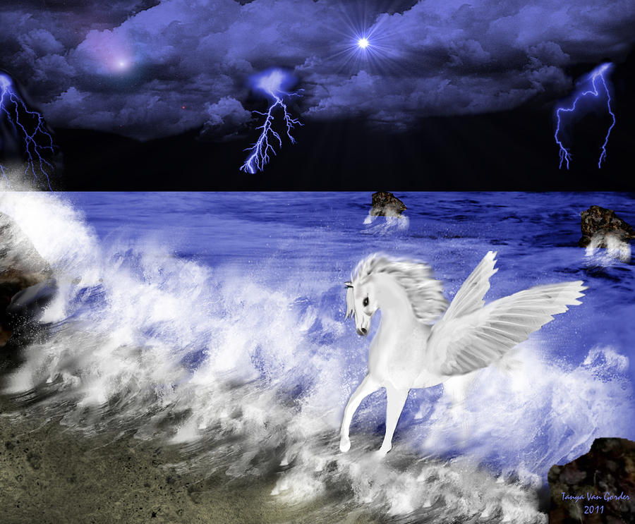 Birth Of Pegasus Digital Art  - Birth Of Pegasus Fine Art Print