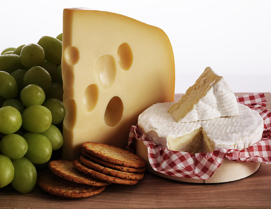 Biscuits, Grapes And Continental Cheeses Photograph