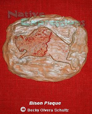Bison Clay Plaque Relief