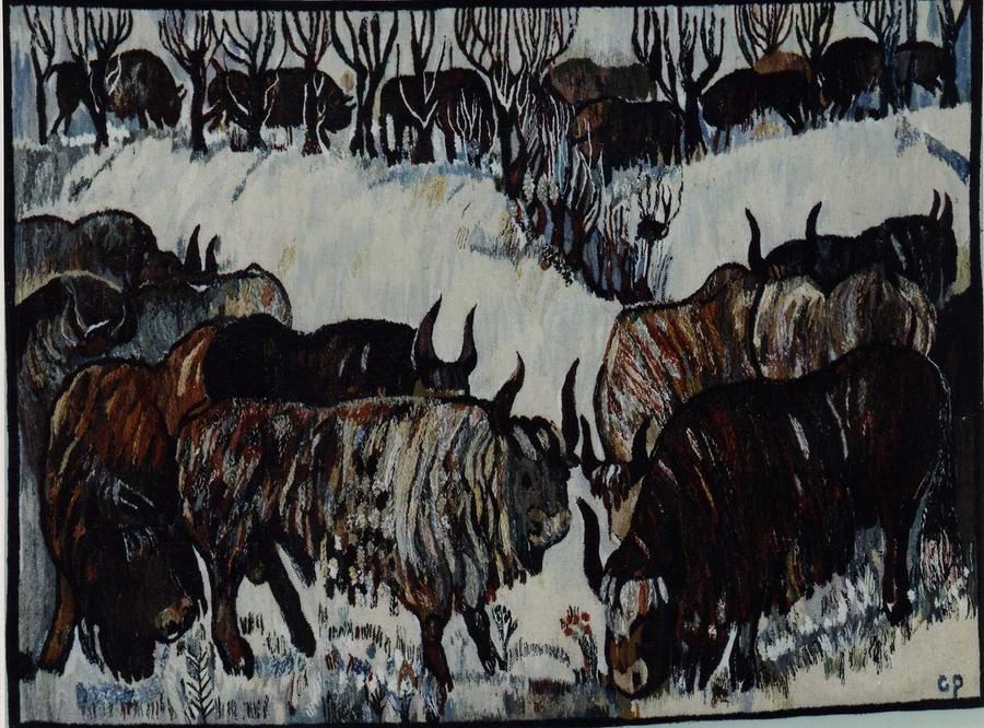 Bison In Winter Tapestry - Textile