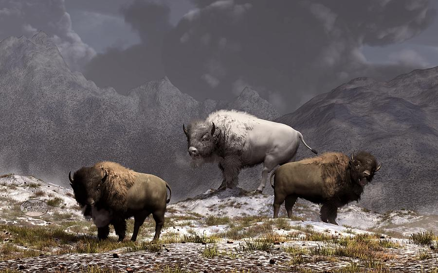 Bison Digital Art - Bison King by Daniel Eskridge