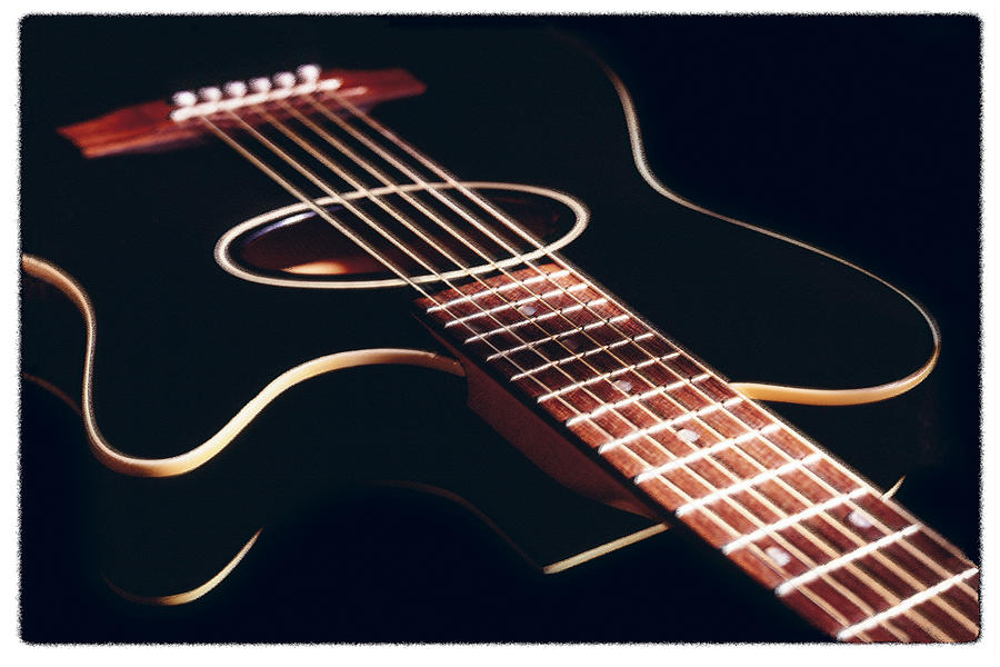 Black Acoustic Guitar Photograph  - Black Acoustic Guitar Fine Art Print