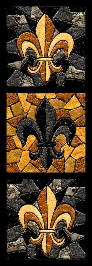 Black And Gold Triple Fleur De Lis Painting  - Black And Gold Triple Fleur De Lis Fine Art Print