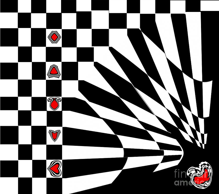 Black And White And Red Art No.107. Digital Art  - Black And White And Red Art No.107. Fine Art Print