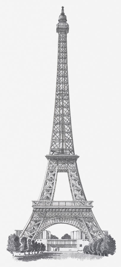 Black And White Illustration Of Eiffel Tower by Dorling ...