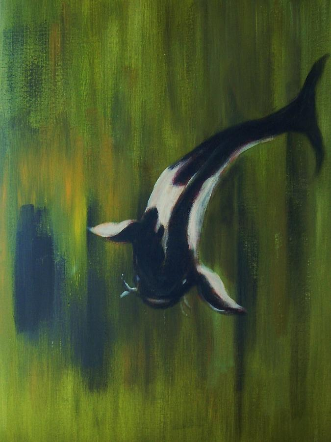 Black and white koi painting by joseph ferguson for Black white koi