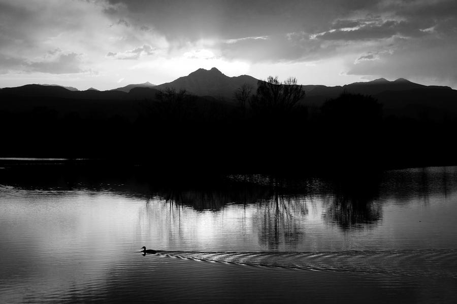 Black And White Lake Sunset Photograph
