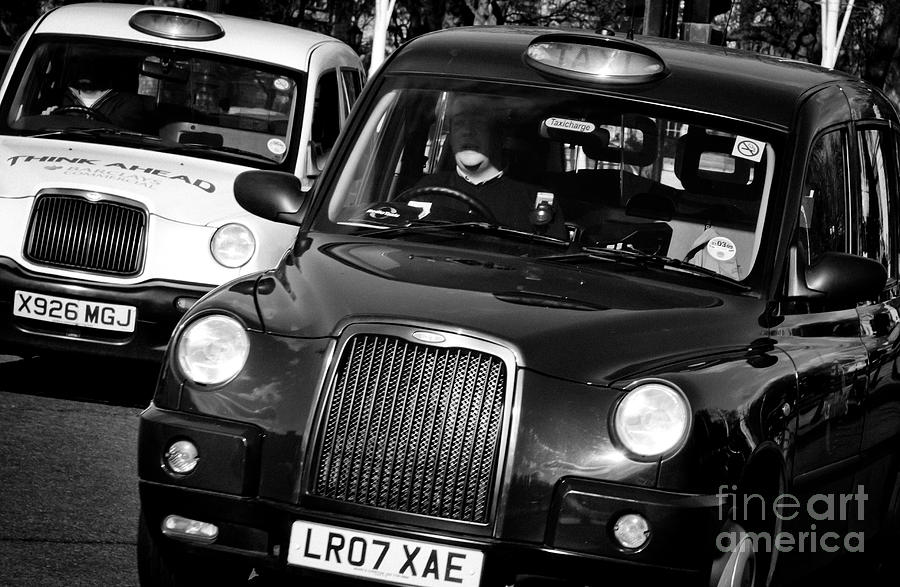 Black And White London Taxi Cabs Photograph