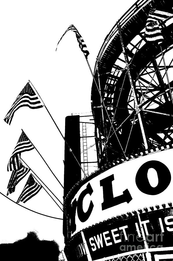 Black And White Roller Coaster Cyclone Digital Art  - Black And White Roller Coaster Cyclone Fine Art Print