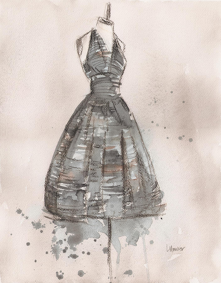 Black And White Striped Dress Painting
