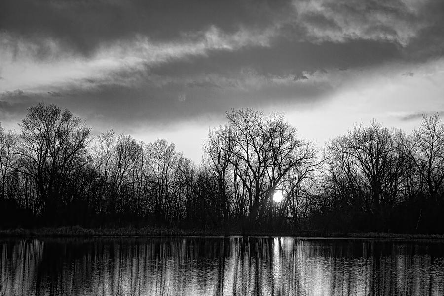 Black And White Sunrise Over Water Photograph